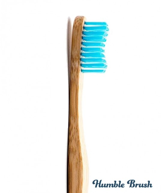 Humble Brush Bamboo Toothbrush Adult - blue Soft Nylon bristles Vegan