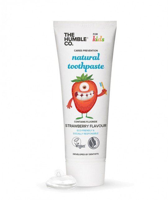 Humble Brush Natural Toothpaste Kids Strawberry with fluoride organic