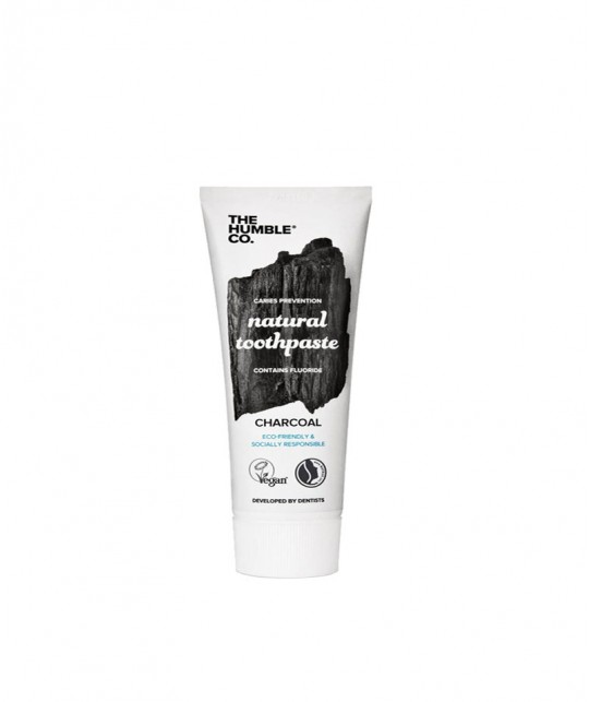 Humble Brush Natural Toothpaste Charcoal with fluoride 10ml travel size black