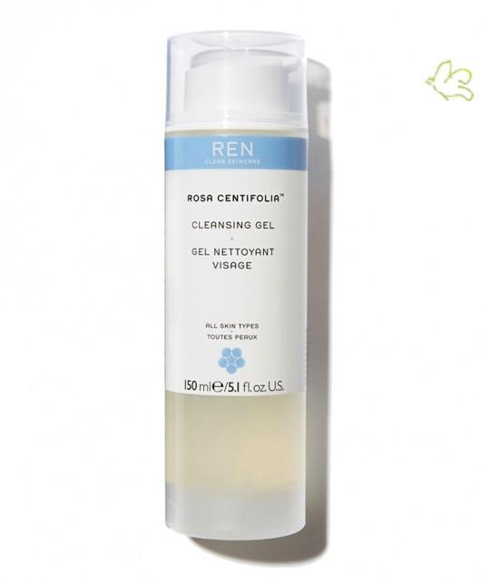 REN Skincare - Rosa Centifolia Gel Nettoyant Visage naturel cosmétique végétal flacon pompe peau sensible