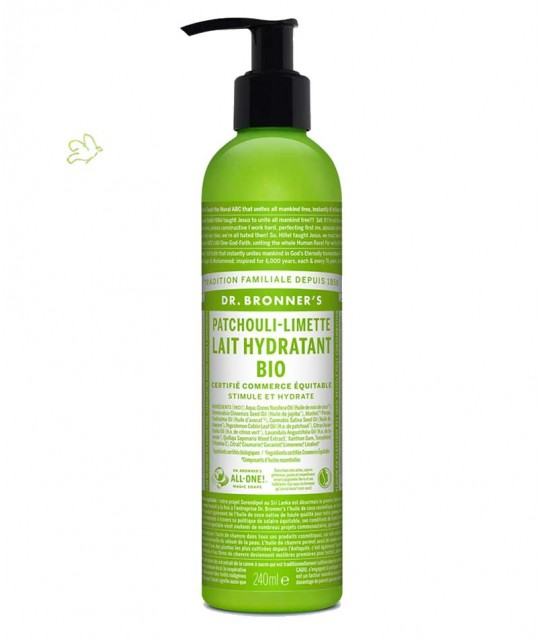Dr. Bronner's - Lait Hydratant bio Patchouli & Citron Vert flacon pompe green parfum naturel végétal