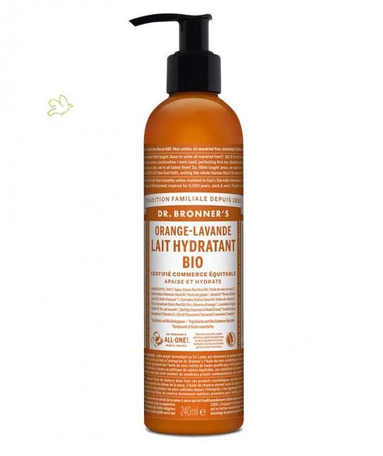 Dr. Bronner's - Lait Hydratant bio Orange & Lavande flacon pompe corps peau soin cosmétique