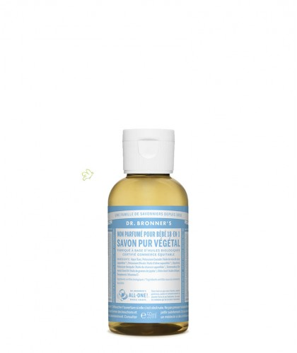 Dr. Bronner's - Savon Pur Végétal Liquide bio Bébé Non-Parfumé doux flacon mini 60ml voyage