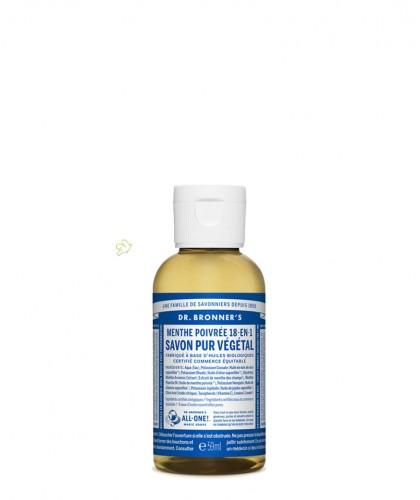 Dr. Bronner's - Savon Liquide bio Pur Végétal Menthe Poivrée flacon mini voyage 60ml