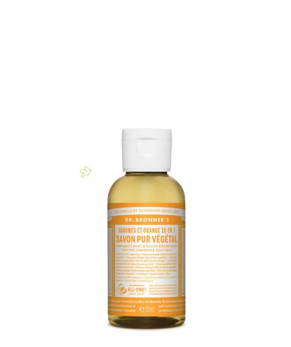 Dr. Bronner's Liquid Soap Citrus Orange travel mini Organic 60ml - 2 oz.