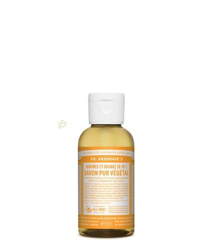 Dr. Bronner's - Savon Liquide Pur végétal 18-en-1 Agrumes Orange Citrus mini voyage 60ml