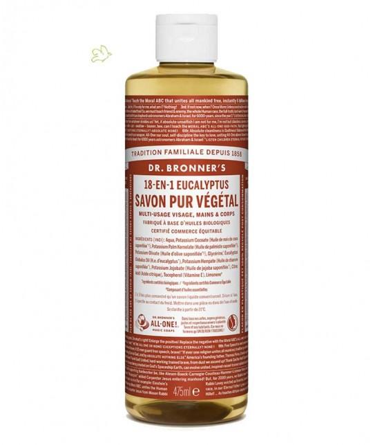 Dr. Bronner's - Savon Liquide bio Pur Végétal Eucalyptus flacon maxi 475ml peau sensible homme naturel