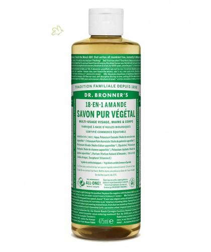 Dr. Bronner's Amande Savon Liquide bio Pur Végétal 18-en-1 flacon maxi 475ml naturel doux peau sensible