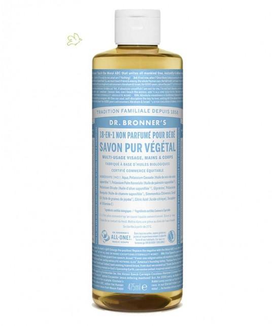 Dr. Bronner's - Savon Liquide bio Bébé Pur Végétal Non-Parfumé 18 en 1 peau sensible allergique naturel flacon maxi 475ml