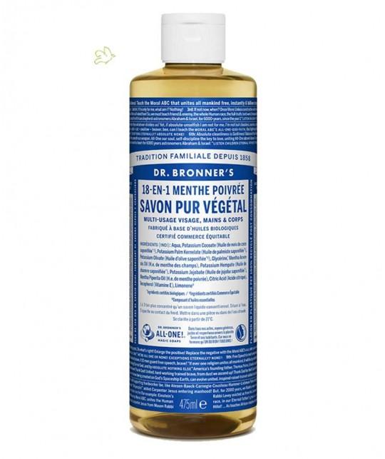 Dr. Bronner's - Savon Menthe Liquide naturel Pur Végétal 18 en 1 bio cosmétique green flacon maxi 475ml
