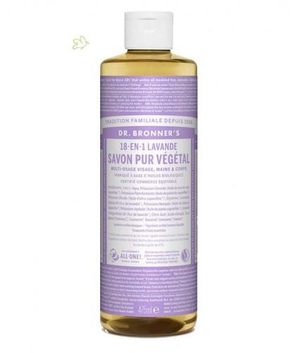 Dr. Bronner's Savon Lavande Liquide bio Pur Végétal 18en1 (flacon maxi 475ml) multi-usage