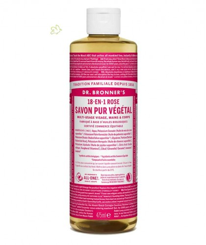 Dr. Bronner's - Liquid Soap Rose Organic vegan 475ml - 16 oz.