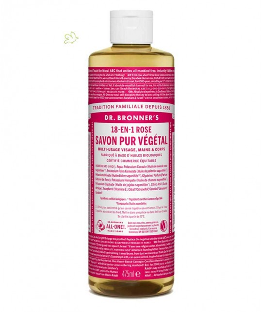 Dr. Bronner's - Savon Liquide bio Pur Végétal Rose 18 en 1 flacon maxi 475ml peau sensible naturel