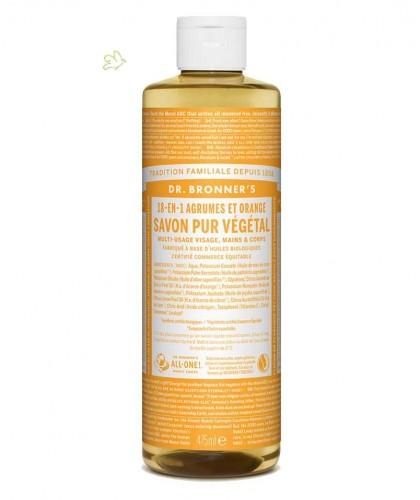 Dr. Bronner's Savon Liquide bio Pur Végétal 18-en-1 Agrumes Orange naturel citron vegan