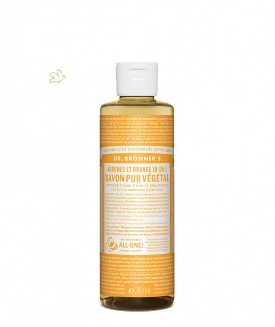 Dr. Bronner Liquid Soap Citrus Orange Organic vegan 240ml - 8 oz.