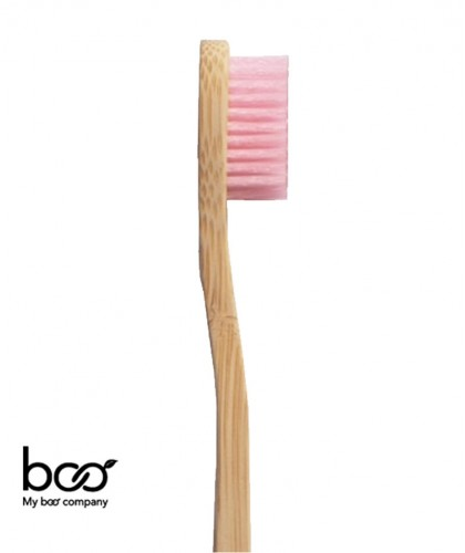100% recyclable, poils en nylon (SANS BPA) 100% naturel, bambou biodégradable compostable rose