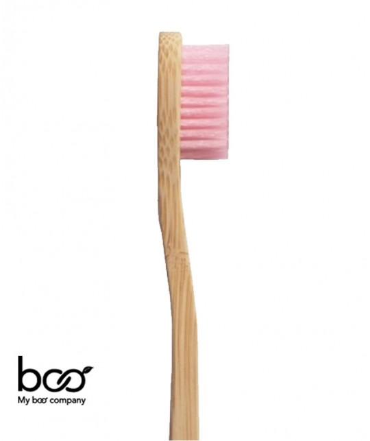 100% recyclable, poils en nylon (SANS BPA) 100% naturel, bambou biodégradable compostable rose