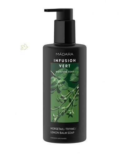 Madara Gel Douche bio hydratant Infusion Vert cosmétique végétale Savon menthe mélisse plantes naturel green