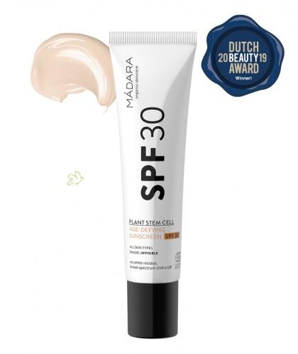 MADARA Crème Solaire bio Visage Anti-âge SPF30 peau sensible végétal tube cosmétique teintée