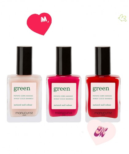 Manucurist Green Coffret Love Vernis à Ongles Pale Rose Peonie Anemone