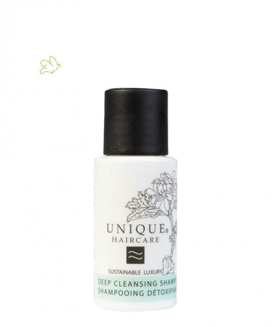 Unique Haircare - Shampooing Détoxiquant bio bleuet mini 50ml flacon voyage végétal plante naturel cheveux gras