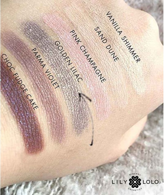 Mineral Eye Shadow Golden Lilac Lily Lolo cosmetics natural beauty swatch