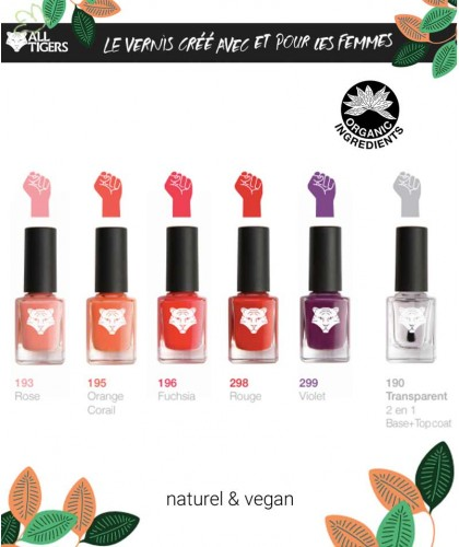 Vernis naturel ALL TIGERS vegan beauté green bio made in France