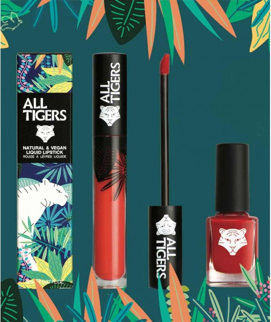 ALL TIGERS - Nail Lacquer natural & vegan RED 298 green organic clean beauty