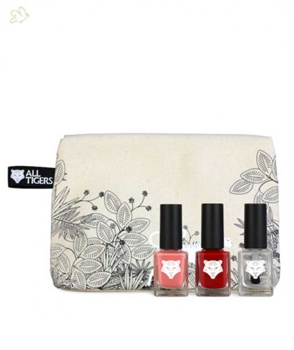 ALL TIGERS green nail polish Makeup pouch Nail Lacquers gift set natural & vegan