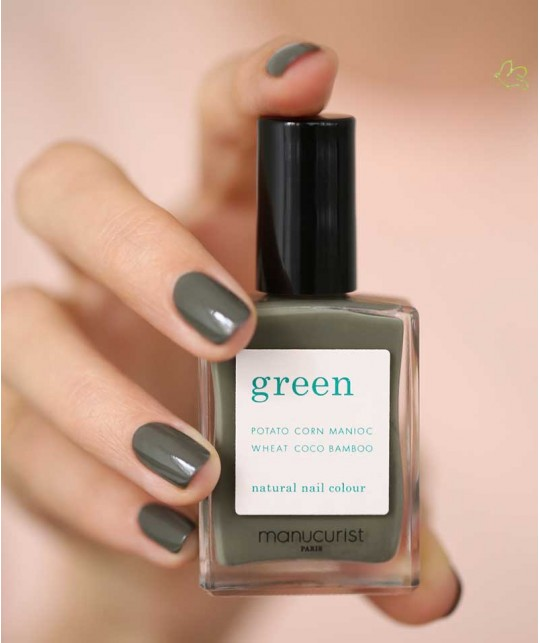 GREEN Manucurist Nail Polish Khaki swatch mani vegan natural
