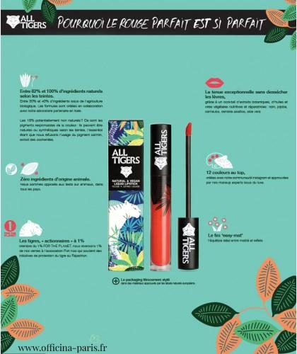 ALL TIGERS Liquid Lipstick matte natural vegan organic beauty l'Officina Paris