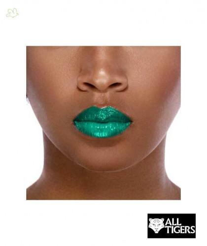 ALL TIGERS Liquid Lipstick matte 2 in 1 GREEN METAL 989 swatch natural vegan organic beauty l'Officina Paris