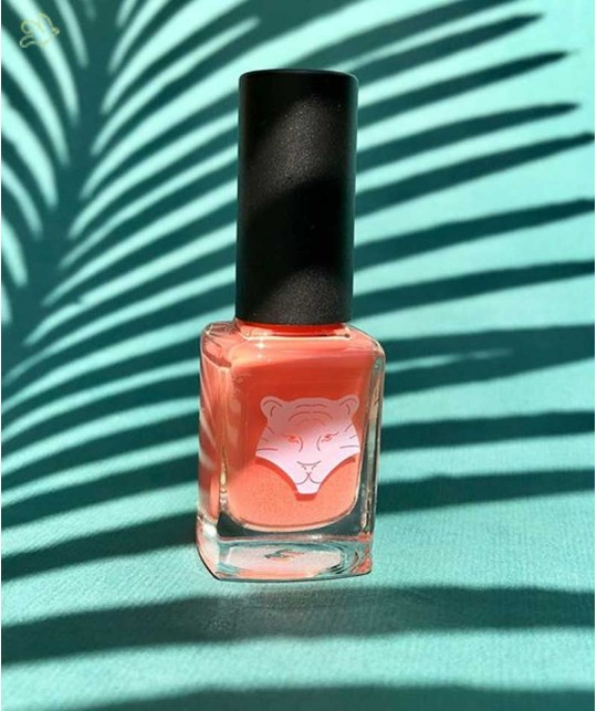 Natural Nail Lacquer ALL TIGERS vegan ORANGE CORAL 195 organic beauty France