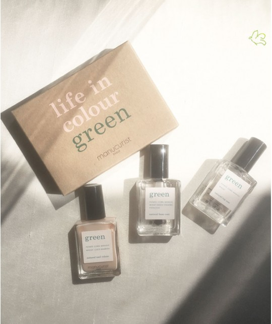Vernis Nude Green Manucurist Coffret Three Steps vegan non toxique naturel