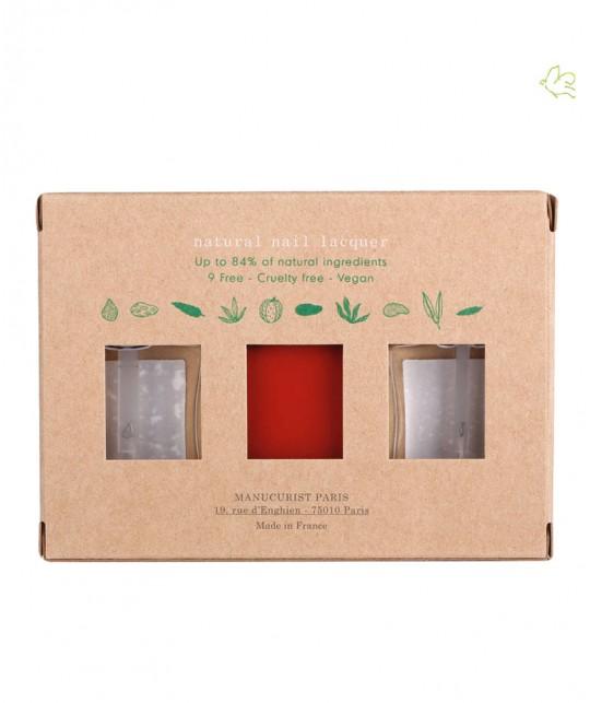 Green Manucurist Coffret Vernis Poppy Red Three Steps vegan non toxique naturel Rouge coquelicot