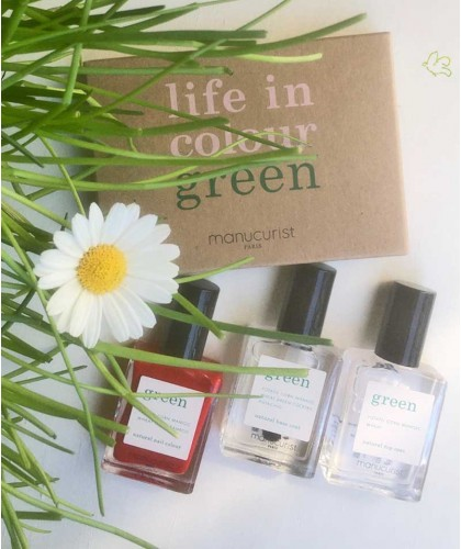 GREEN Manucurist Poppy Red Nail Polish Box Green Three Steps natural beauty vegan