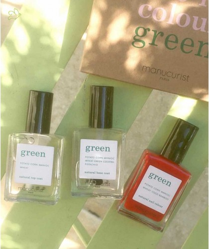 Poppy Red Nail Polish GREEN Manucurist Box Green Three Steps natural beauty vegan Poppy Red