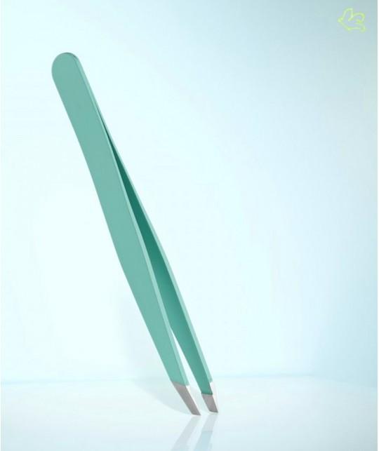 RUBIS Switzerland Tweezers Classic Slanted tips - Light Green Blue eyebrows cosmetics beauty