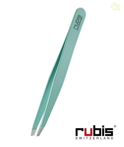 RUBIS Switzerland Pince à Épiler sourcils beauté cosmétique Classic mors biais - Turquoise Vert clair