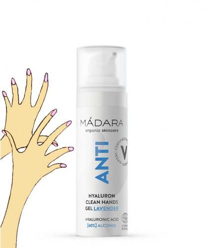 Madara ANTI Gel anti-bactérien hydratant Mains bio 30ml Acide hyaluronique mini