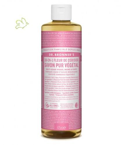 Dr. Bronner's - Savon Liquide bio Pur Végétal Fleur de Cerisier 18 en 1 flacon maxi 475ml peau sensible naturel