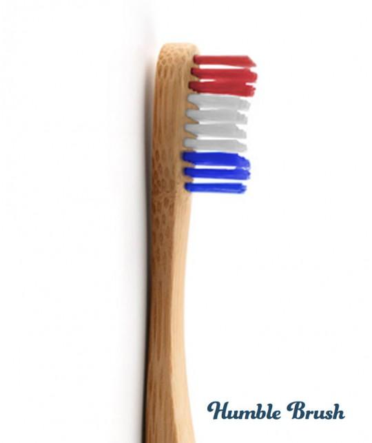 Humble Brush Brosse à Dents en Bambou Adulte Soft - Vive la France Bleu Blanc Rouge Vegan