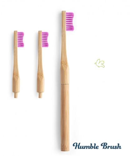 Humble Brush Bambus Zahnbürste mit austauschbarem Kopf weiche Borsten Nylon nachhaltig umweltfreundlich kompostierbar