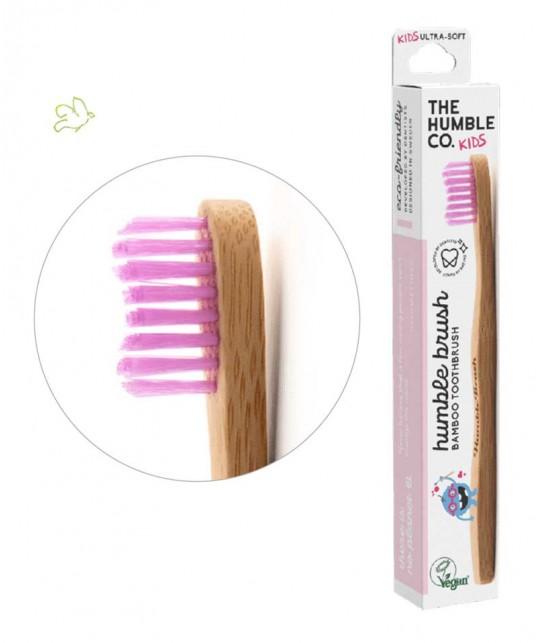 Bamboo Toothbrush Humble Brush Kids - pink vegan cruelty free nylon bristles ultrasoft