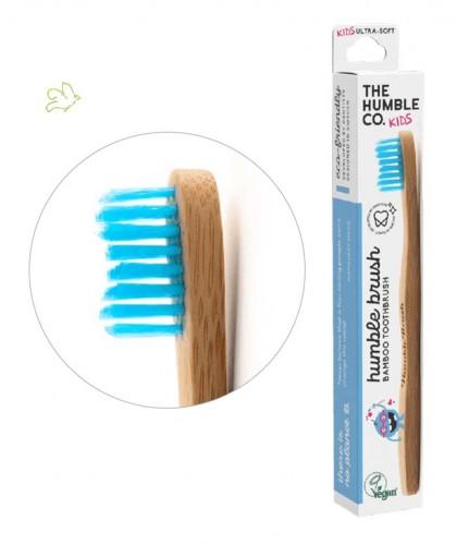 Brosse à Dents en Bambou Humble Brush  Enfant - bleu Vegan poils nylon ultra doux
