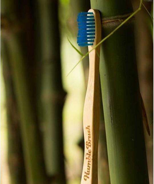 Humble Brush Bamboo Toothbrush Adult - blue Soft Nylon bristles Vegan