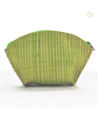 L'Officina Enjoy - Trousse Beauté en raphia tressé (vert & beige) cosmétique plage été tendance toilette