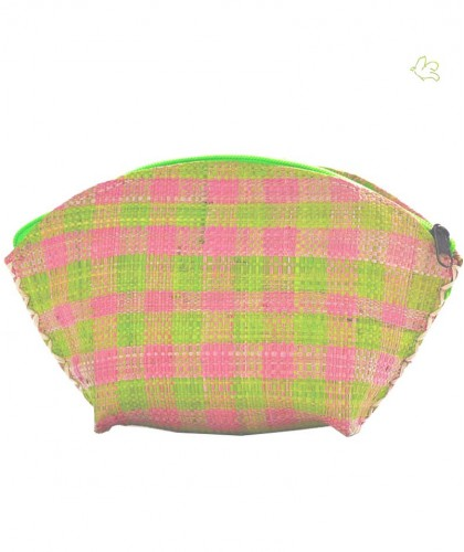 Raffia cosmetic bag green & pink l'Officina Paris beauty natural handcrafted Summer beach trendy