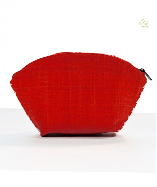 L'Officina Paris - Trousse Beauté en raphia tressé (rouge corail)