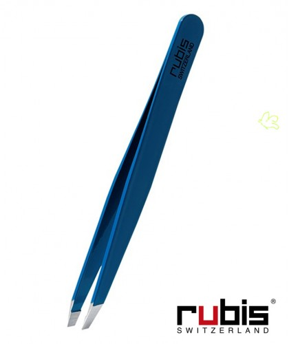 RUBIS Switzerland Tweezers Classic Slanted tips eyebrows beauty cosmetics Blue navy